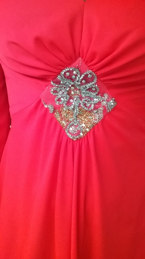 1970s Vintage Lucie Ann DRESS bright neon RED, ev… - image 3