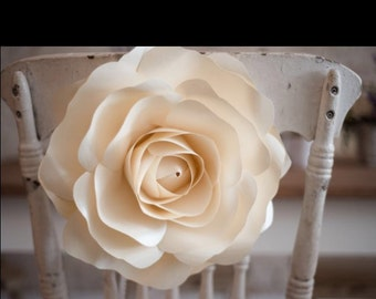 Decorative chair rose- handmade paper rose with ribbon tie