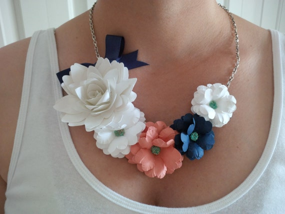 Paper flower necklace statement necklace white coral navy etsy image 0 mightylinksfo