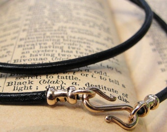 Leather necklace cord with bronze clasp for RQP Studio wax seal jewelry - black 18 inch