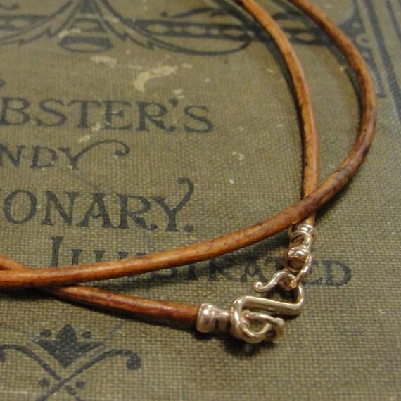 Collar De Cuero Marrón Broche de plata esterlina 925 marrón claro-Trenzado para Hombre//Damas