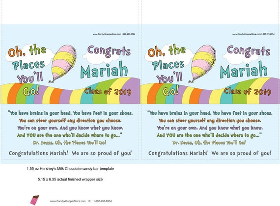 image about Oh the Places You'll Go Printable Template known as Printable - Oh, the Sites Youll Shift Commencement Customized Sweet Bar Favors