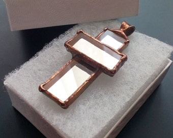 Mirror necklace, gift for women, cross pendant, contemporary jewelry, artistic jewelry, unusual pendant