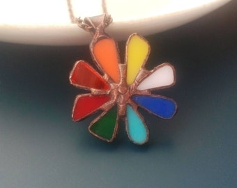 Statement necklace, stained glass jewelry, multicolored, colorful jewelry, wearable art, contemporary jewelry, gift for women, art jewelry