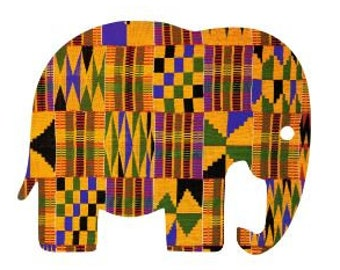 Iron On Transfer Elephant - Kente Fabric HTV, Kente Cloth HTV, Great for Backpacks, Pillows, Totes, Onesies, T-Shirts, Aprons & Other Gifts!