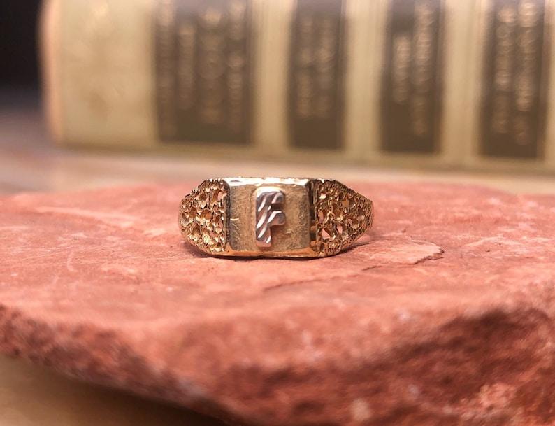 Art Deco 14K Gold Letter F Ring     Size 6