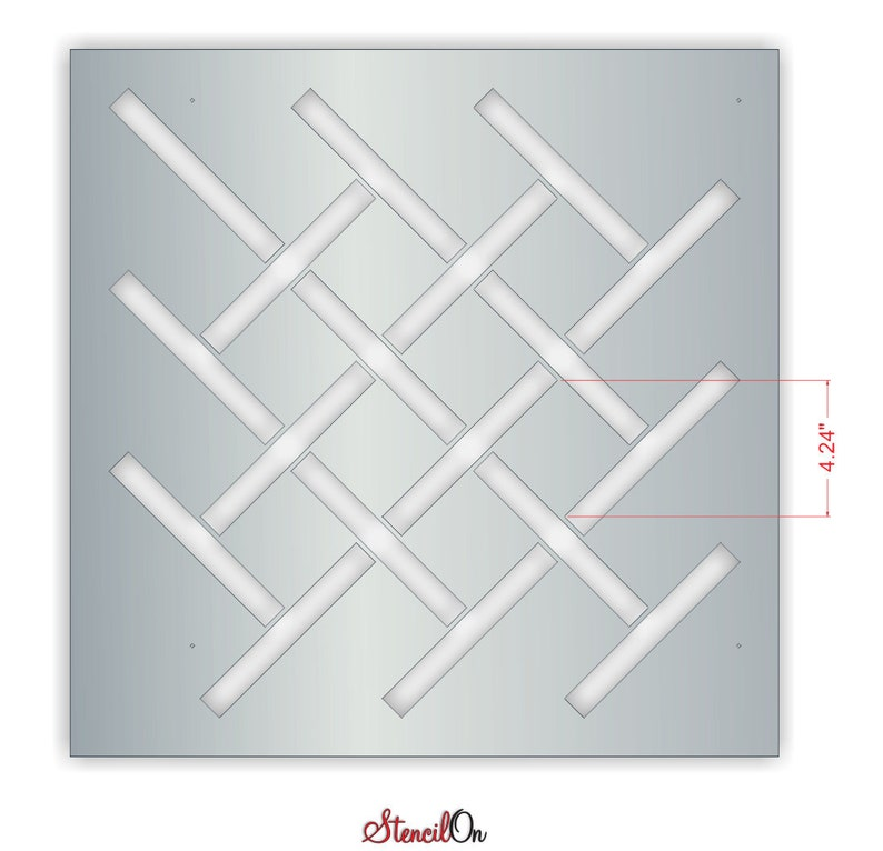 Reusable Interlacing Lattice Repeat Wall Stencil