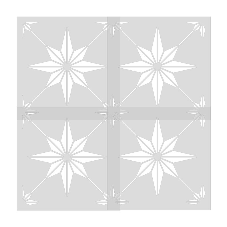 or 10 mil Plastic Reusable 7 mil Clear or blue Mylar Spanish Star Floor Tile  Stencil 8.5 mil Repositionable