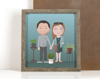 Illustrated Custom Family Portraits, Cute Stylized Caricatures of Family, Pets, Kids