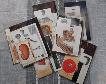 Small science-themed collage kit - Vintage, medical, astronomy