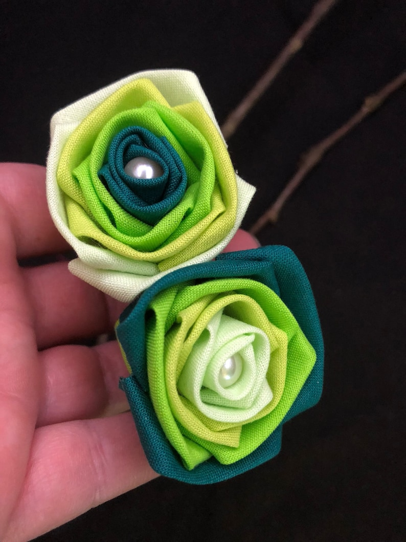 Green Ombr\u00e9 Wedding Bouquet Green Ombr\u00e9 Flower Bouquet Green Ombre Fabric Roses with Stems Green Rose Ombr\u00e9 Roses Green Centerpiece