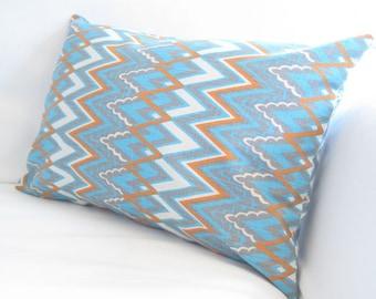 Chair Pillows, Blue Orange Pillows, Chevron Lumbars, Decorative Pillows, Chevron Pillow Cover,Blue Orange Accent Pillows,Cotton Pillows