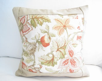 14in decorative pillows, toss pillows, orange pillow covers, floral pillows, accent pillows, 14x14 pillow cover, pillow cover, burlap pillow
