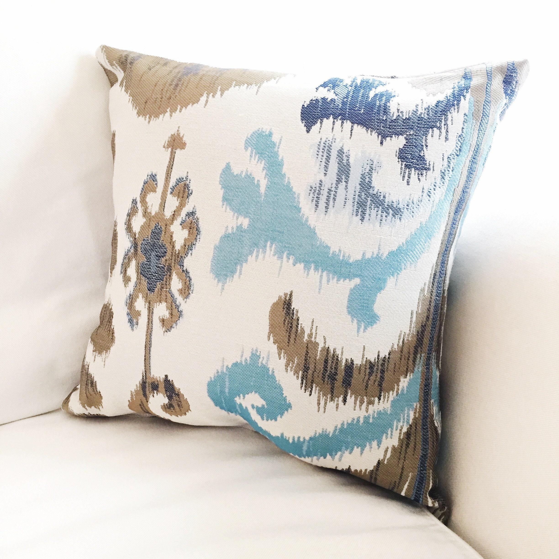 2 blue tan white Ikat pillow covers
