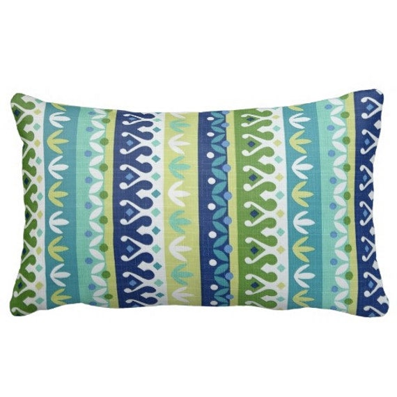 Lumbars Outdoor Pillows Striped Pillows Blue Outdoor Throw Etsy