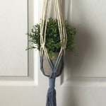 Blue Dip Dyed Macrame Hanging Planter Handmade Boho Decor Bohemian Small to Medium Plant or Succulent Wood Ring