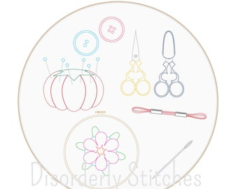 Cross Stitch Supplies Hand Embroidery PDF Pattern Instant Download