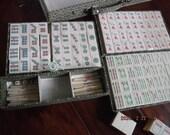 Vintage Mahjong Mah Jongg Set Bone and Bamboo tiles with dovetail workmanship 152 pcs 50 score keeping sticks