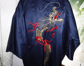 Dragon Kimono Best Quality Dark blue with gold and red dragon desing a7efe453f