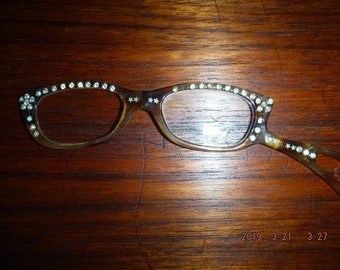 337396c0ed06b Vintage lorgnette folding opera eye glasses set with aurora borealis  rhinestones In plastic possibly Lucite