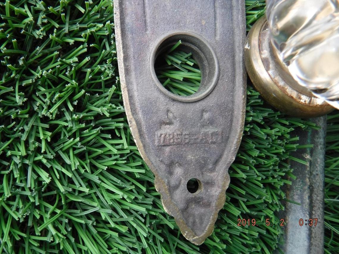 Door Entry Set with glass knob  vintage Sargent Brass