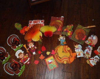Thanksgiving decorations cut outs and honeycomb Turkey's 35+ pieces