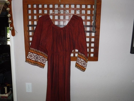 Guatemalan- 1960s- Bell Sleeves- Embroidered Cotto