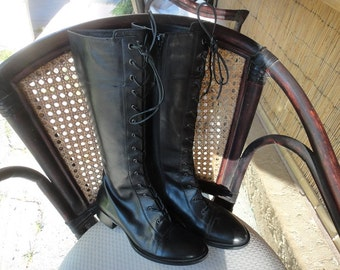 VIA SPIGA black leather 80s COMBAT lace up tall knee high boots 4 1/2M size 56