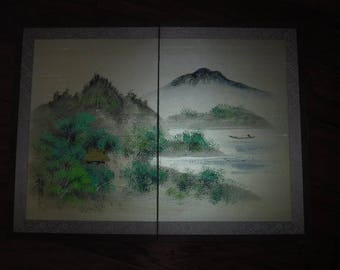 Asian silk screen two panel smaller size