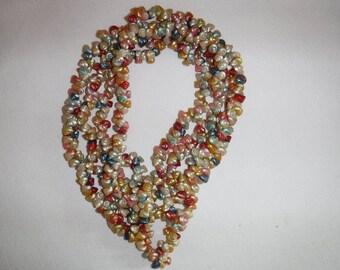 "Vtg. Iridescent Trochus Shell Hawaiian Lei Necklace - 1950's - 60's - 76"" long"