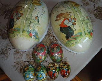 """4 Vintage Paper Mache Easter Eggs WestGermany 18"""" x 12"""" and three smaller"""