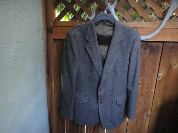Western Tweed Jacket With Leather Elbow Patches 40r Western Etsy