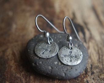 Sterling Silver compass earrings - Journey jewelry - Wanderlust - Tiny True North earrings