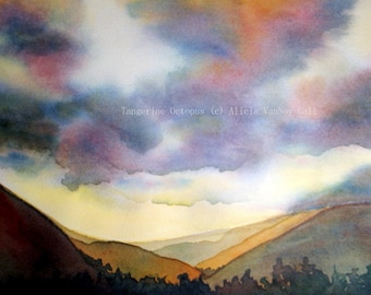 Print Watercolor Painting Mountain Sunset by Alicia VanNoy Call, Free Shipping