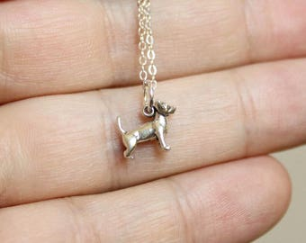 Itty Bitty Chihuahua Necklace in Sterling Silver