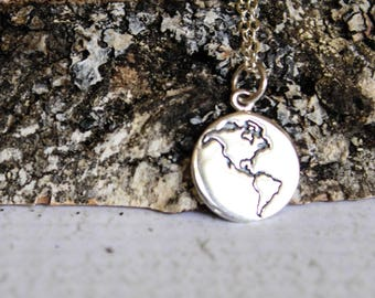 Double-Sided Globe Necklace in Sterling Silver