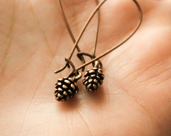 Tiny Pinecone Earrings in Antique Copper or Bronze, Pine Cone Jewelry, Nature Inspired, Woodland Earthy Rustic, Simple Minimalist Jewelry