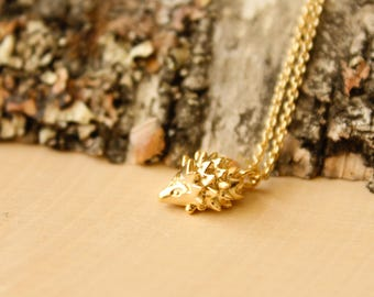 Tiny Hedgehog Necklace, Available in Silver and Gold