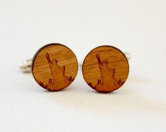Statue of Liberty Cuff Links, Laser Cut Wood, New York Landmark, New Yorker, Harbor Ellis Island, USA American, Father's Day Groomsmen Gift