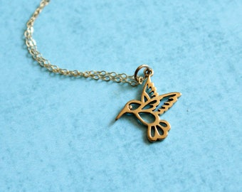 Hummingbird Outline Necklace (Larger Version), Available in Sterling Silver andBronze and Gold Filled