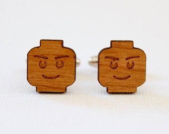 Block Man Head Cuff Links, Laser Cut Wood, Sustainable Cherry Wood, Iconic Childhood Toy, Building Blocks Man, Groomsmen Gift, Graduation