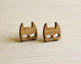 Batman and Robin Mask Studs, Laser Cut Wood Earrings, Sustainable Bamboo, Superhero Masked Vigilante Faces, Comicon Jewelry