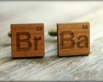 periodic table element cuff links laser cut wood breaking bad inspired