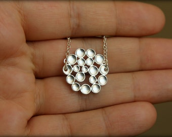 Burst Bubbles Necklace in Matte Silver