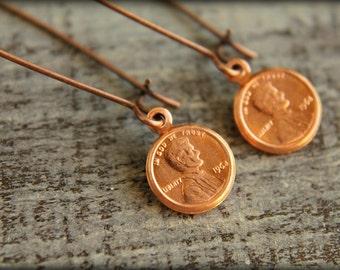 Tiny Copper Penny Earrings