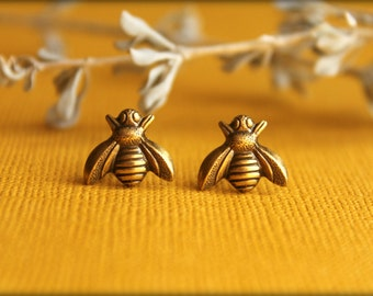 Bee Earrings, Available in Multiple Colors, Honeybee Bumblebee Earring Studs, Save the Bees, Earthy Nature Inspired, Bee Jewelry Accessory