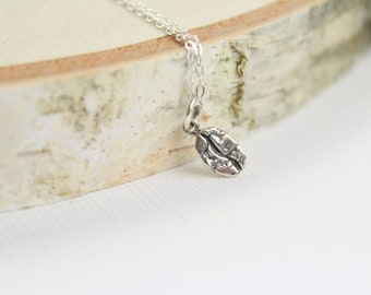 Coffee Bean Necklace in Sterling Silver