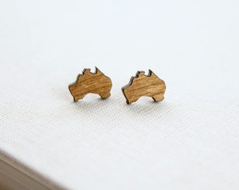 Australia Stud Earrings, Laser Cut Wood Earrings, Australia Country Continent Map Shape Travel Place Outback