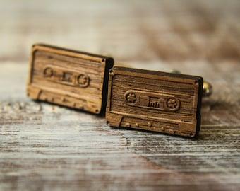 Cassette Tape Cuff Links, Laser Cut Wood