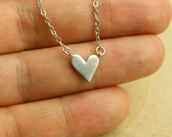 Asymmetric Heart Necklace, Available in Silver